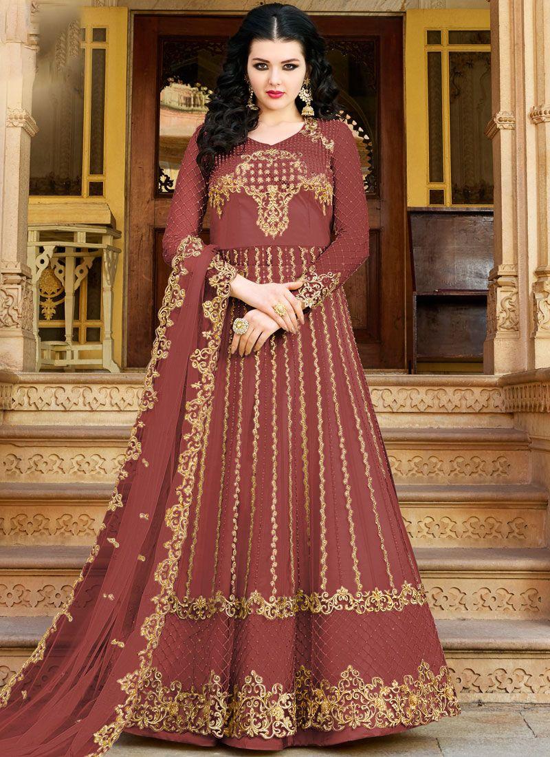 Maroon Net Designer Salwar Suit
