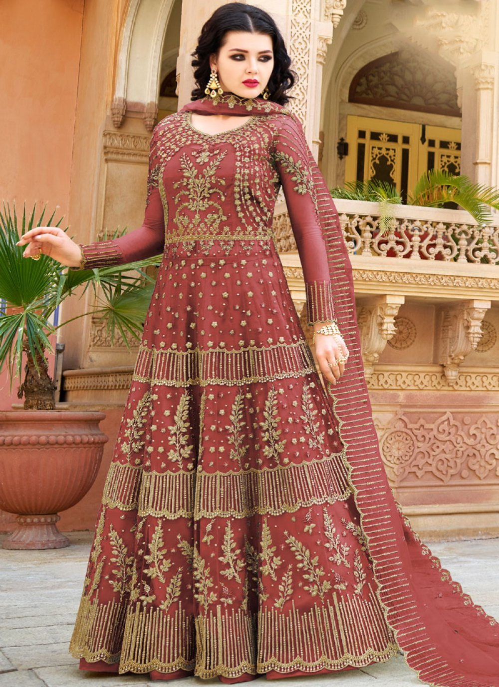Maroon Net Embroidered Designer Lehenga Choli