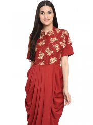 Maroon Party Party Wear Kurti
