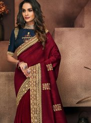 Maroon Patch Border Art Silk Traditional Saree