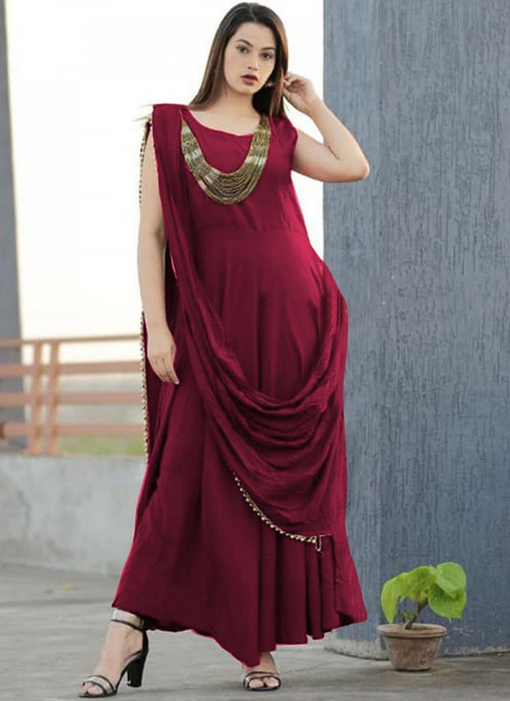 Maroon Plain Party Designer Gown