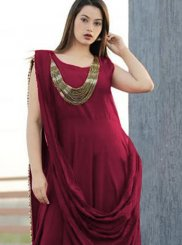 Maroon Plain Party Designer Gown