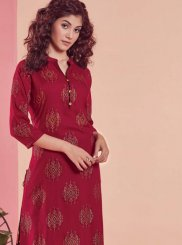 Maroon Print Party Wear Kurti
