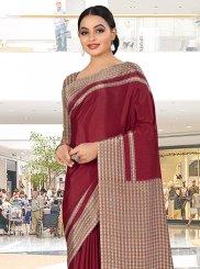 Maroon Print Trendy Saree