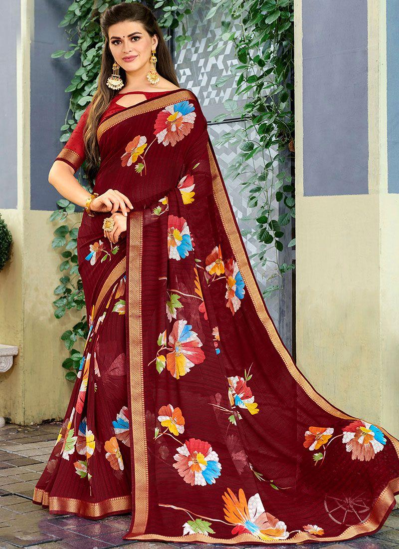 Maroon Printed Classic Saree