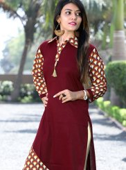 Maroon Printed Cotton Party Wear Kurti