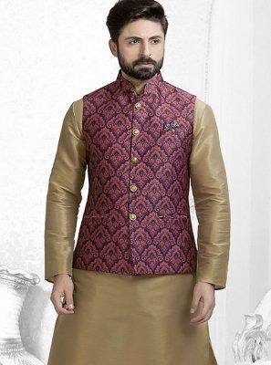 Maroon Printed Festival Nehru Jackets