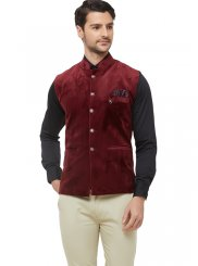 Maroon Reception Velvet Nehru Jackets