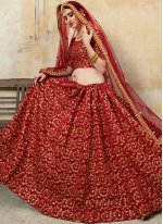 Maroon Resham Art Silk Lehenga Choli