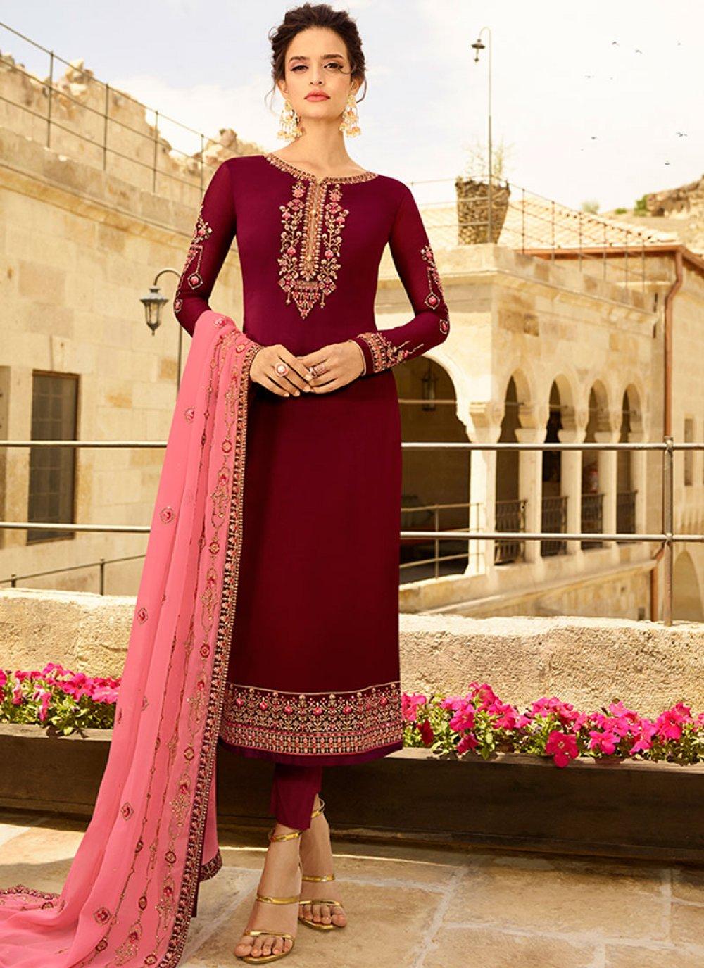 Maroon Resham Churidar Designer Suit