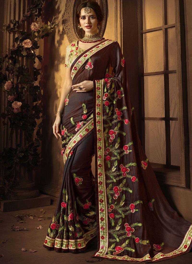 Maroon Resham Designer Traditional Saree