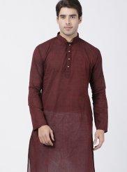 Maroon Sangeet Cotton Kurta Pyjama