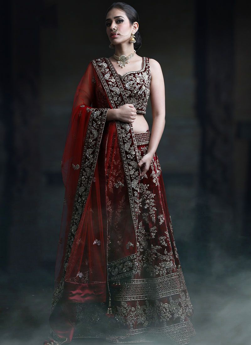 Maroon Sangeet Designer Lehenga Choli