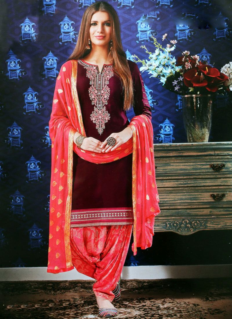 Maroon Satin Festival Designer Patiala Suit
