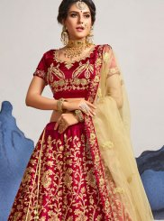 Maroon Satin Silk Diamond Designer Lehenga Choli