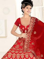 Maroon Satin Silk Wedding Lehenga Choli