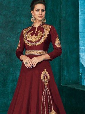 Maroon Silk Trendy Anarkali Salwar Kameez