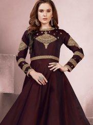 Maroon Tafeta Silk Readymade Gown