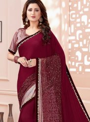 Maroon Thread Classic Saree