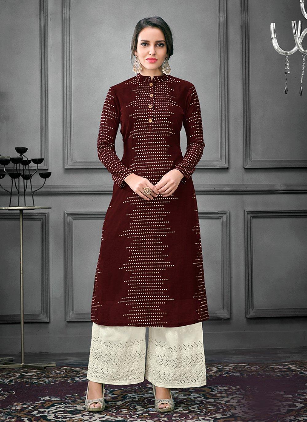 Maroon Thread Cotton Designer Kurti