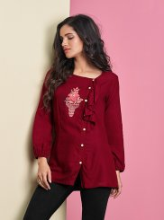 Maroon Thread Work Casual Kurti