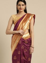 Maroon Tussar Silk Classic Saree
