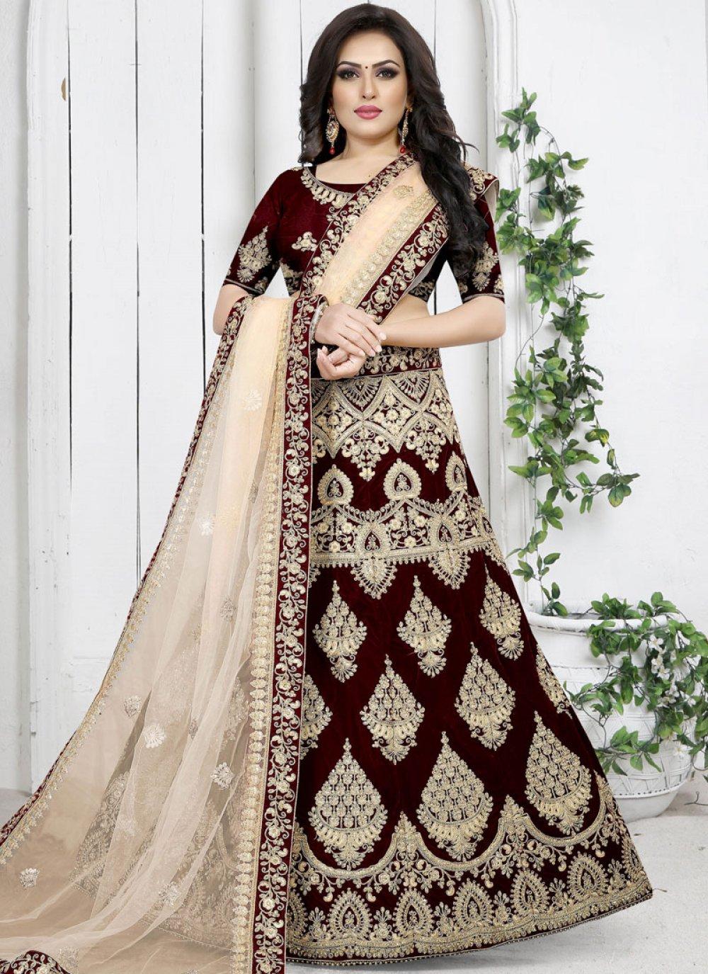 Maroon Velvet Trendy Designer Lehenga Choli