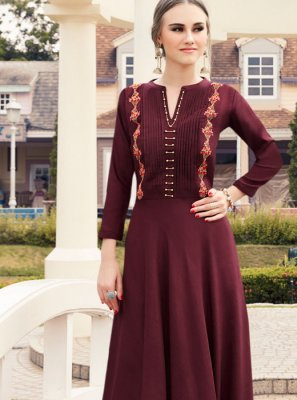 Maroon Viscose Embroidered Party Wear Kurti