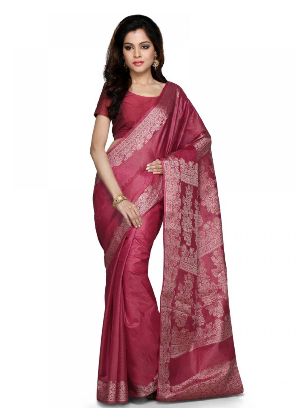 Maroon Weaving Art Banarasi Silk Designer Traditional Saree