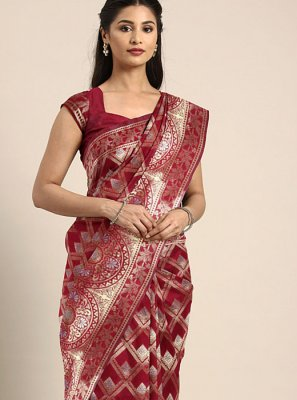 Maroon Weaving Art Silk Silk Saree