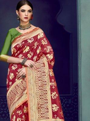 Maroon Weaving Art Silk Traditional Designer Saree