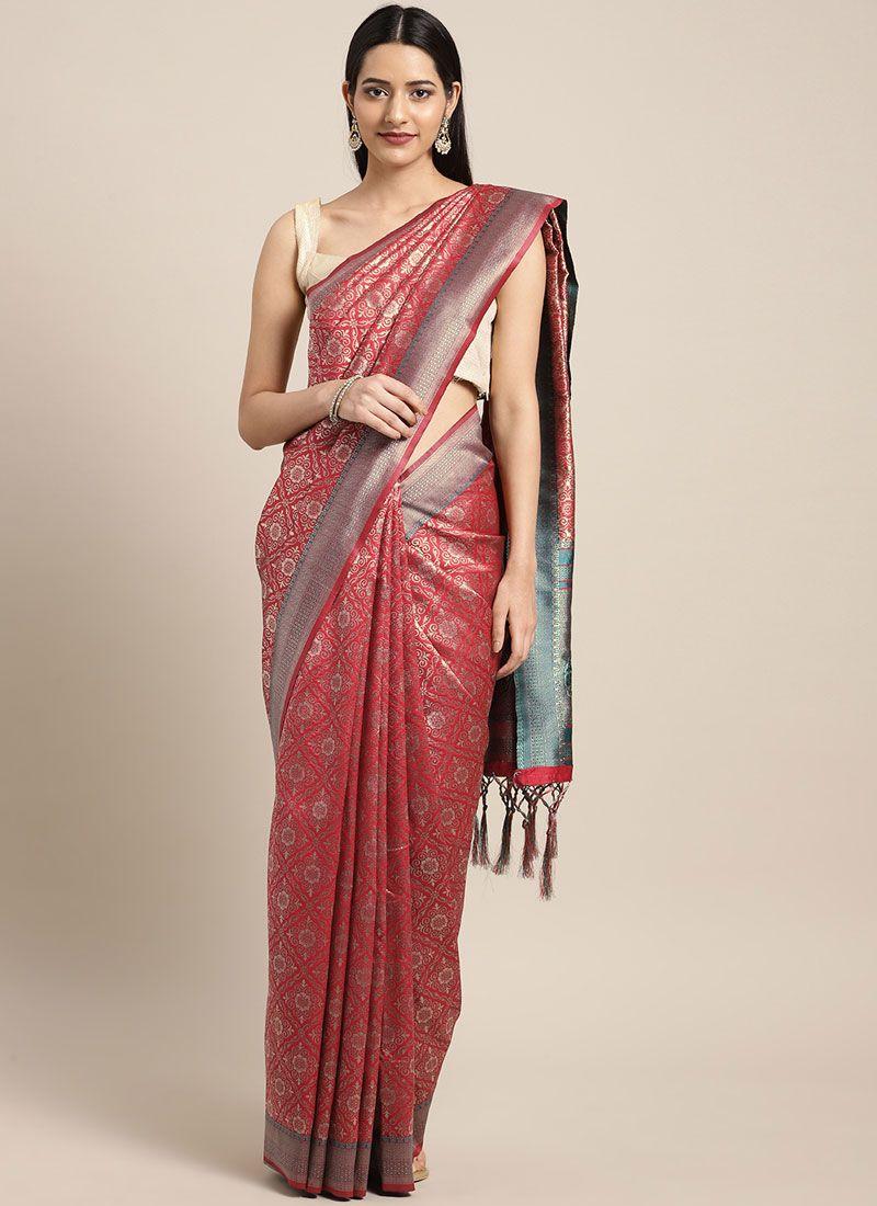 Maroon Weaving Casual Trendy Saree