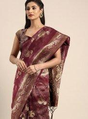 Maroon Weaving Festival Traditional Designer Saree