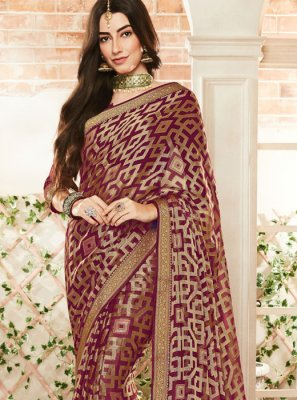 Maroon Weaving Festival Traditional Saree