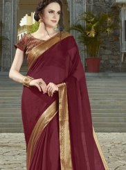 Maroon Weaving Party Designer Saree