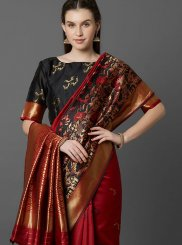 Maroon Weaving Reception Classic Designer Saree