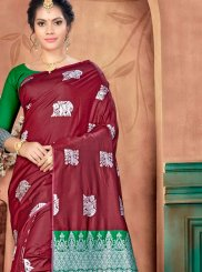 Maroon Weaving Traditional Saree