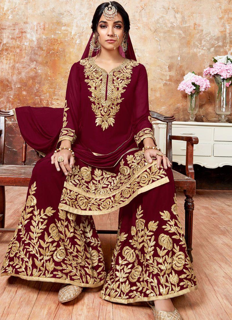 Maroon Wedding Designer Pakistani Suit