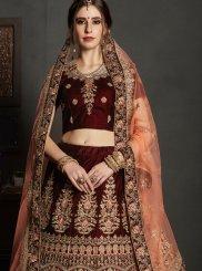 Maroon Wedding Velvet Lehenga Choli