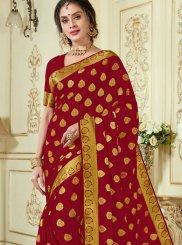 Maroon Woven Crepe Silk Designer Traditional Saree