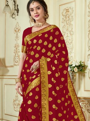Maroon Woven Crepe Silk Designer Traditional Saree