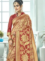 Maroon Woven Designer Traditional Saree