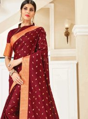 Maroon Woven Traditional Designer Saree