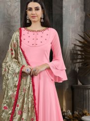 Maslin Cotton Anarkali Salwar Suit in Pink