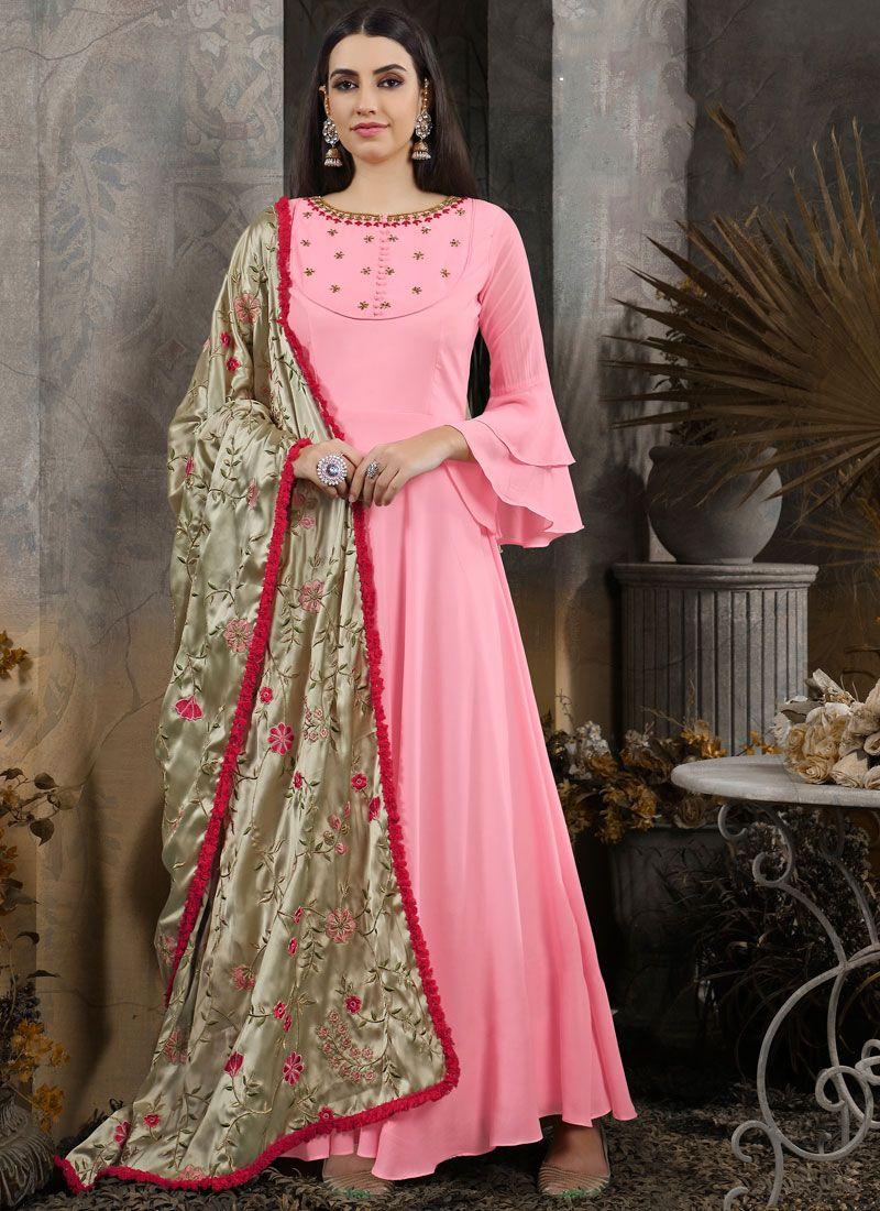 Maslin Cotton Anarkali Salwar Suit in Pink