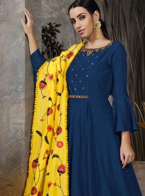 Maslin Cotton Handwork Navy Blue Anarkali Salwar Kameez