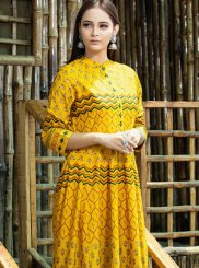 Maslin Cotton Yellow Trendy Gown