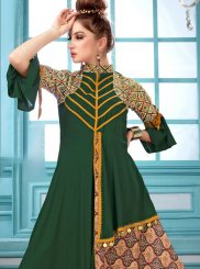 Maslin Silk Digital Print Designer Kurti in Green