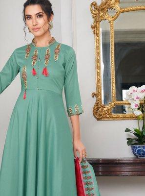 Maslin Silk Embroidered Sea Green Designer Palazzo Salwar Suit