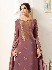Mauve  Banarasi Silk Designer Palazzo Suit